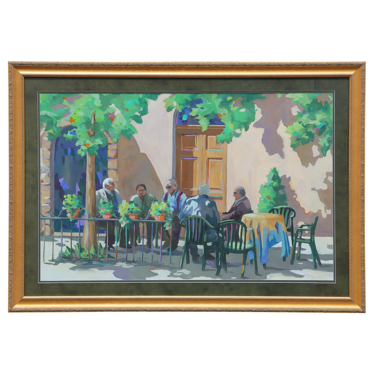 Untitled Impressionist Italian Cafe Watercolor Painting