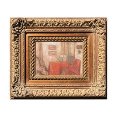 Hungarian Impressionist Style Red Toned Still Life Interior Pastel Painting
