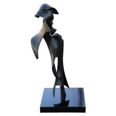 """Black Knight"" Abstract Figurative Bronze Sculpture"