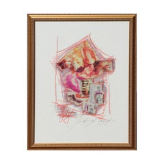 Warm Toned Pink and Orange Mixed Media Abstract Landscape Scene of an Art Market