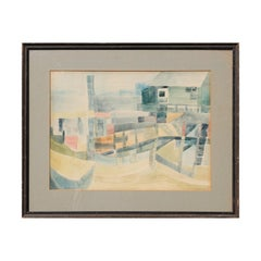 Early 1940s Abstract Cubist Watercolor Boat Dock Landscape by Female Artist
