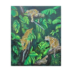 Large Scale Tropical Colorful Leopard Jungle Nature Landscape Oil Painting