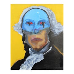 """Abstract Contemporary Blue and Yellow Portrait of President George """"Washington"""""""
