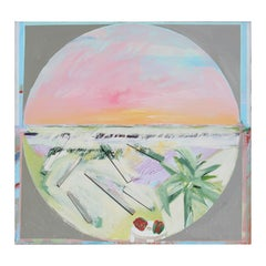 Large Modern Abstract Pastel Beach Circle Landscape Mixed Media Painting