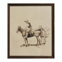Monochromatic Brown Toned Western Portrait Drawing of a Cowboy and Two Horses