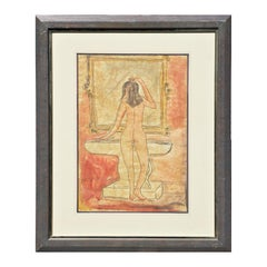 Orange Toned Modern Abstract Nude Female Bather Watercolor Painting