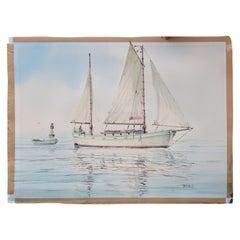 Impressionist Seascape Watercolor of a Sailboat