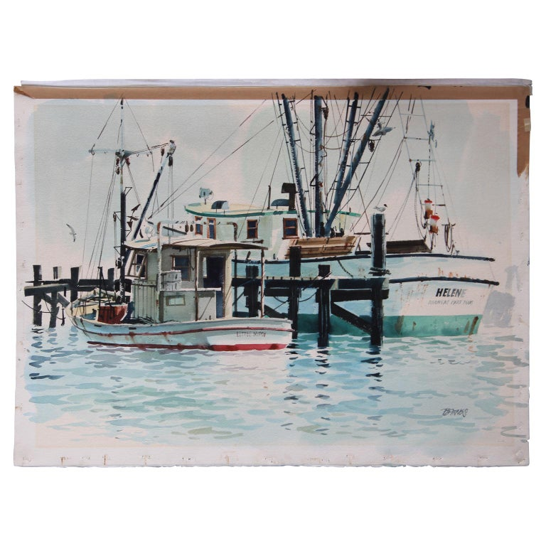 Al Barnes Landscape Painting - Realistic Watercolor Dock Scene with Fishing Boats