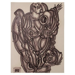 Abstract Cubist Charcoal Drawing of a Standing Woman