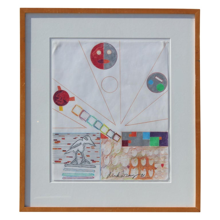 Dick Wray Abstract Drawing - Geometric Colored Pencil Drawing