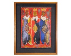 Untitled Red, Yellow and Blue Figurative Abstract