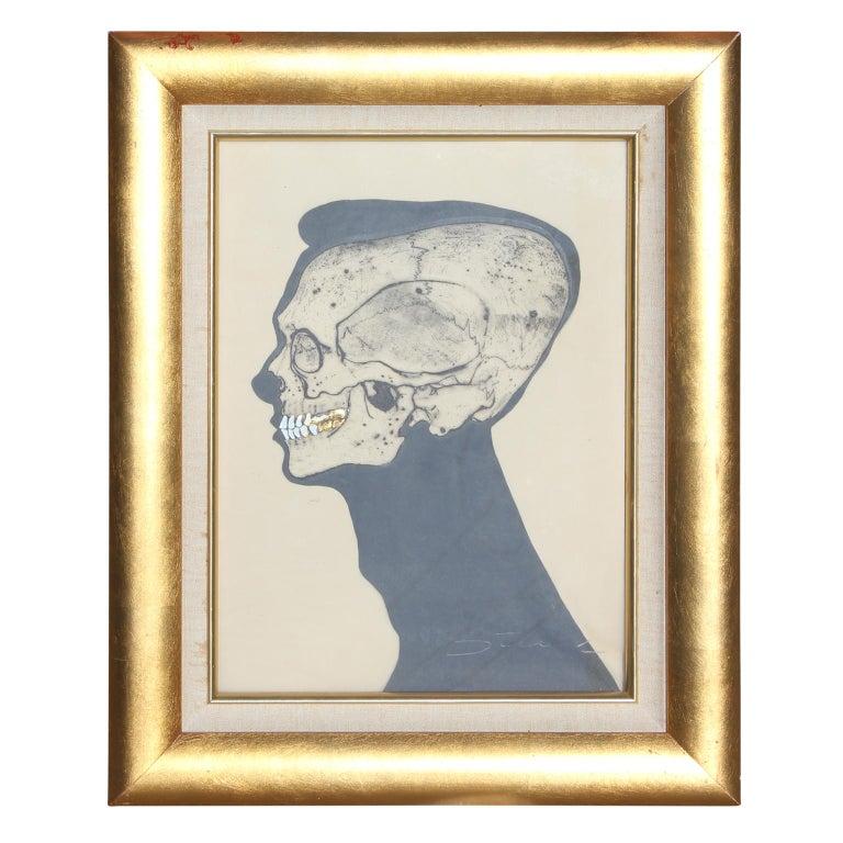 "Jack Stuck Figurative Painting - ""Teeth"" Skeletal Portrait with Gold Leaf"