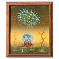 Reverse Painted Glass Surreal Still Life Painting