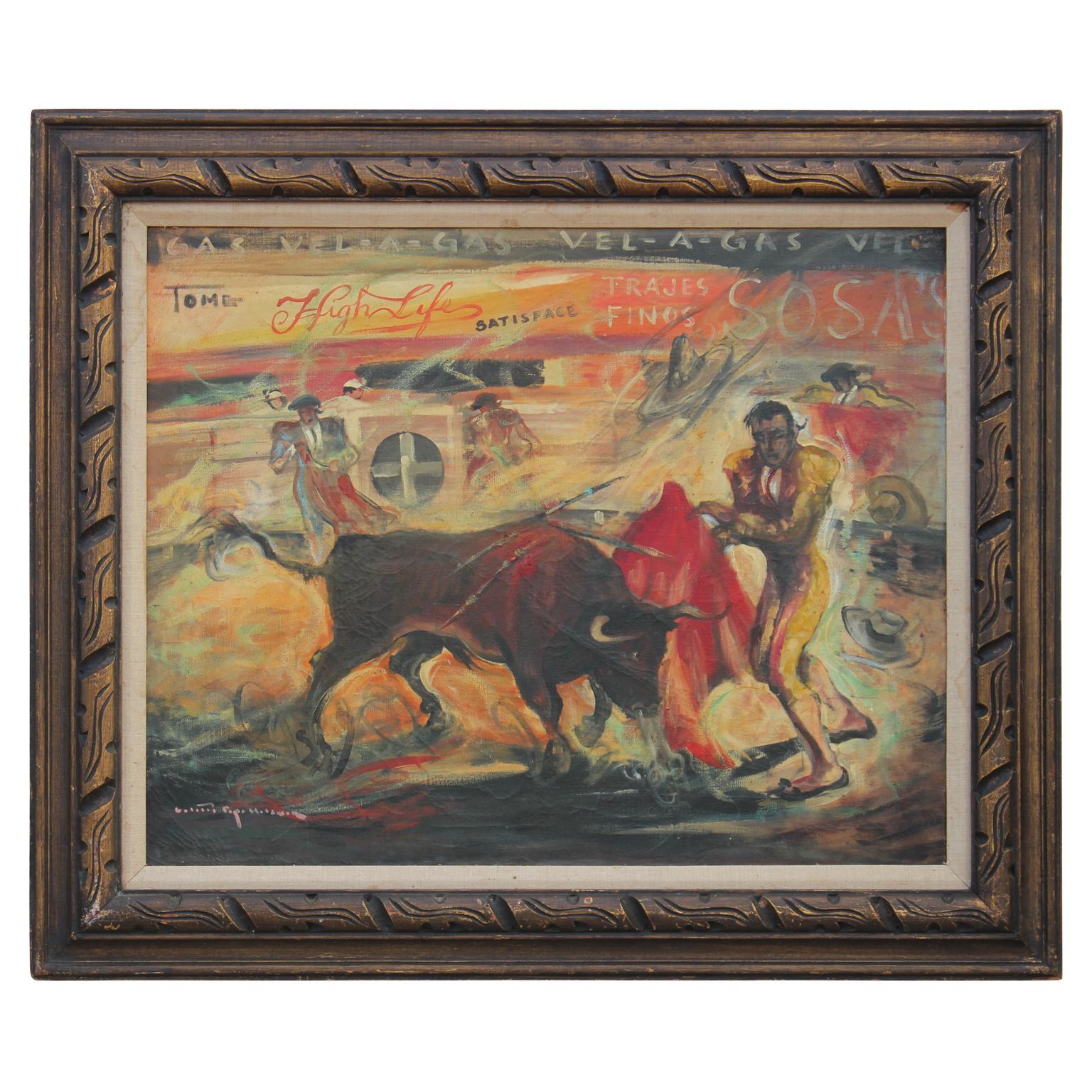 """Matador Vs. Bull"" Abstract Impressionist Painting"