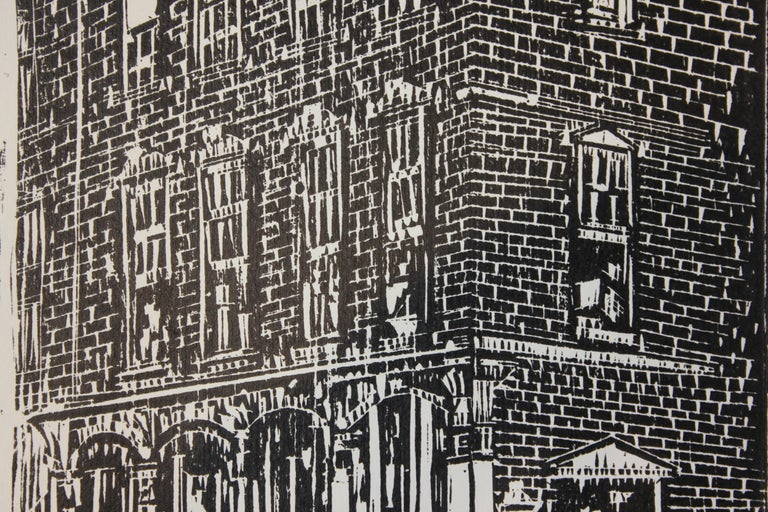 Architectural Street View of a Tall Building - Abstract Expressionist Print by Lowell Daunt Collins