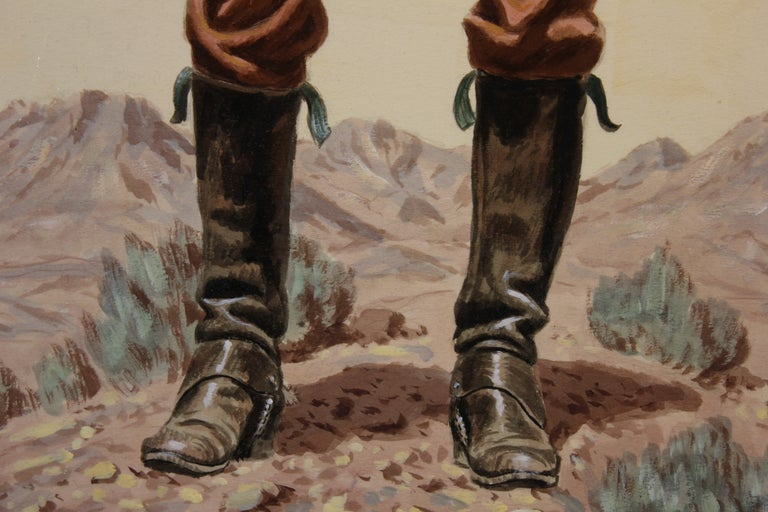 Oil on board of a man in western clothing with a shotgun by Texan artist Joe Grandee, titled