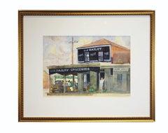 L. J. Dailey, San Marcos, TX Landscape Watercolor Store Front Painting
