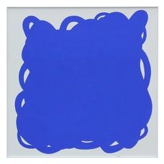 Rivvir - Large Yves Klein Blue and White Free Form Abstract