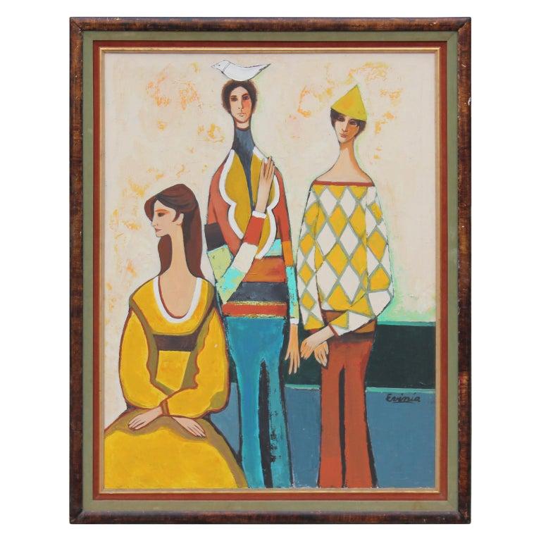 Three Harlequin Figures in the Style of David Adickes 1