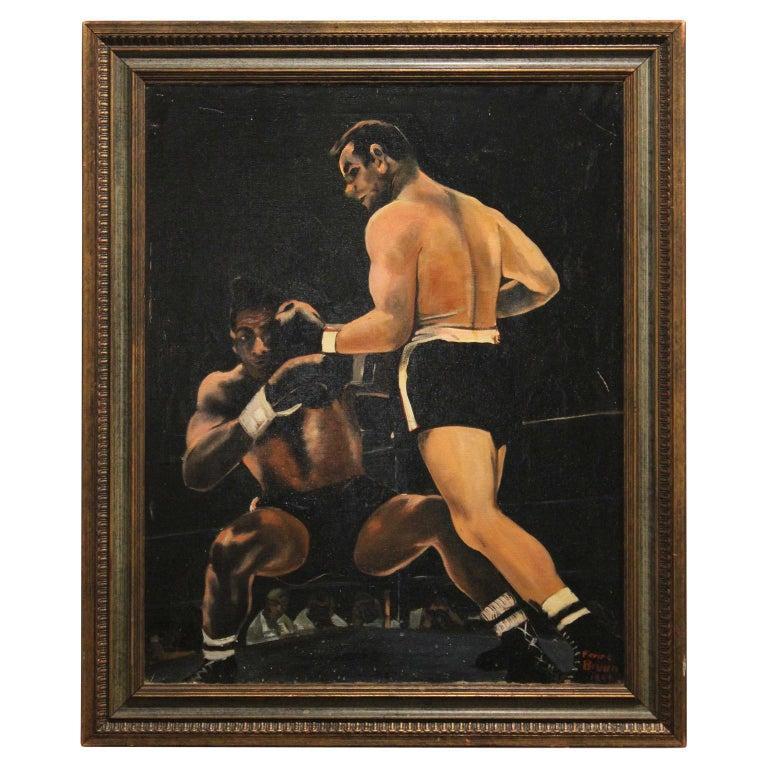 Ferine Bruun Figurative Painting - Boxing Match- Ingemar Johansson vs Floyd Patterson