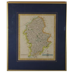 """Staffordshire Hand Painted Map Engraving From """"New and Correct English Atlas"""""""
