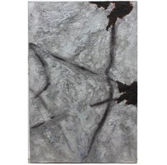 """""""Raider Nation"""" Silver and Black Expressionist Impasto Painting"""