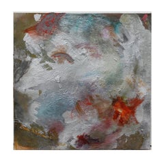 Large Expressionist Impasto Painting with Red, Blue and White Tones