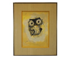 """Blinky"" Yellow Toned Print of an Owl"