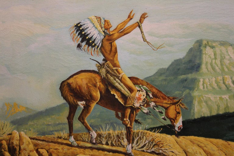 Landscape with Native American in Prayer on a Horse - Painting by Jackson