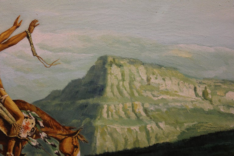 Canyon landscape view with a Native American riding a horse. The Native American is dressed in traditional attire and appears to be in the middle of a prayer or a ritual. Painting is signed by Jackson in the bottom left hand corner. Canvas is framed