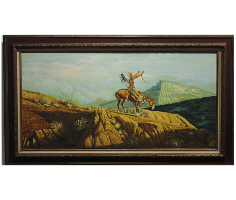 Jackson Landscape Painting - Landscape with Native American in Prayer on a Horse