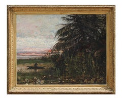 Impressionist Landscape with Figure and Boat