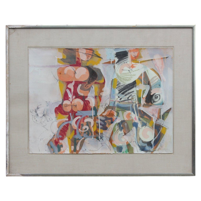 Petur Halldorsson Abstract Drawing - Abstract Expressionist Figures in the Style of William de Kooning