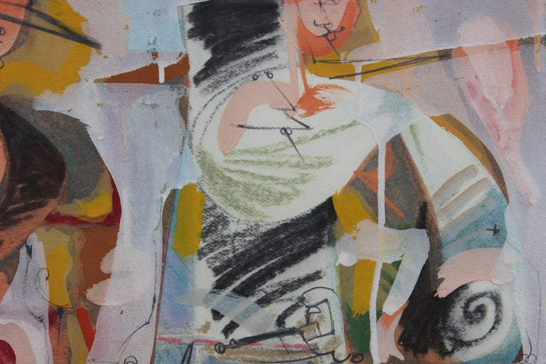 Abstract Expressionist Figures in the Style of William de Kooning   - Brown Abstract Drawing by Petur Halldorsson