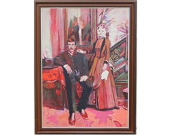 Turn of the Century Portrait of an Upper class Couple in Red Tones.