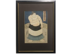 """Hibikinada Gorokichi"" Japanese Wood Block of a Sumo"