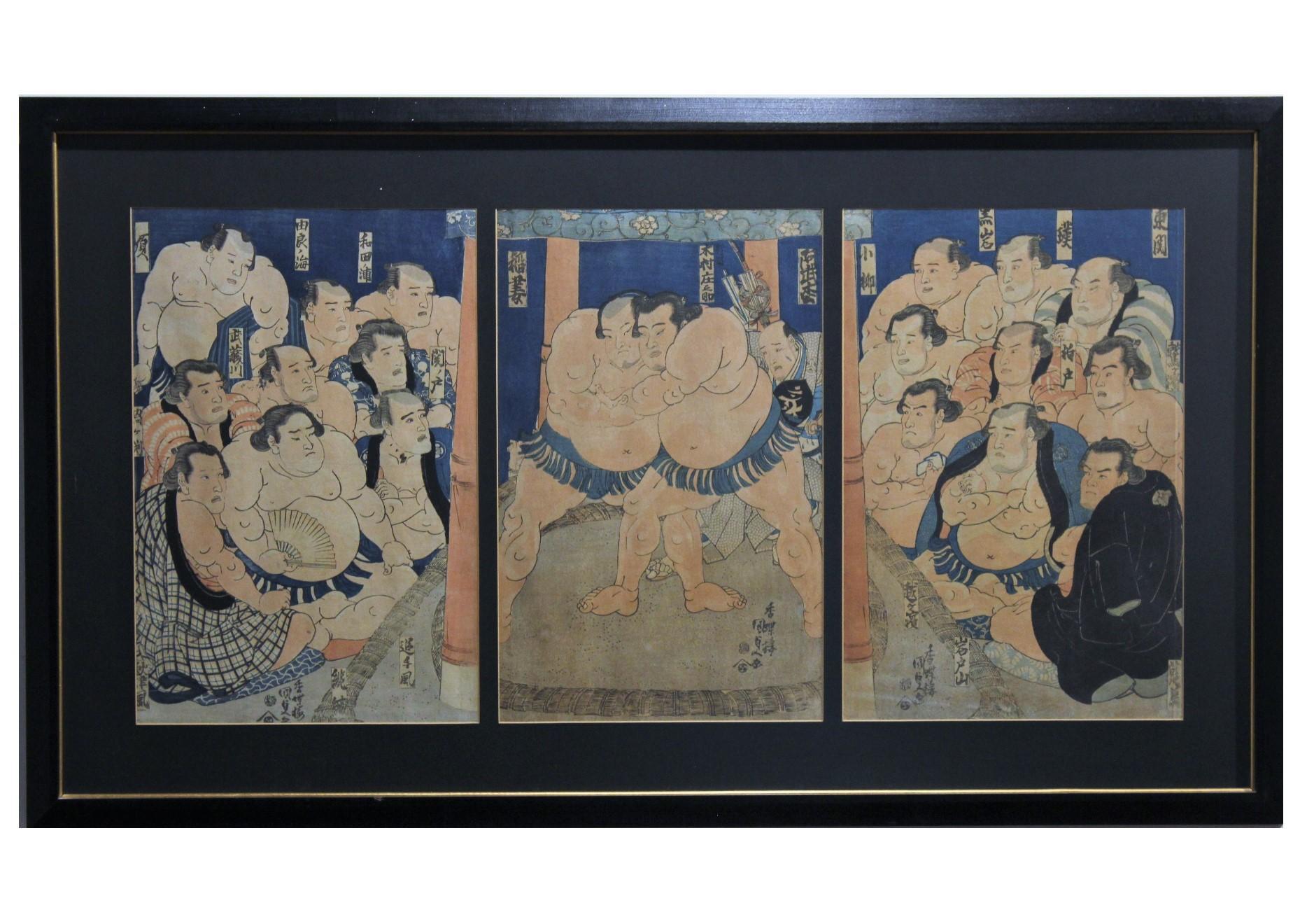 """Inazuma vs Abumatsu on the Dohyo"" Sumo Wrestle Triptych"