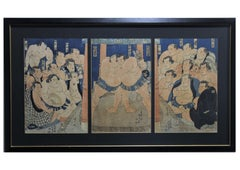 """Inazuma vs Abumatsu on the Dohyo"" Sumo Wrestle Triptych"