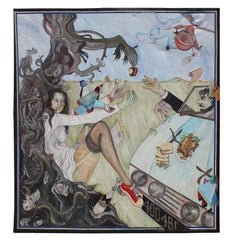 Human Folly Large Scale Surrealist Painting with Garden of Eden Theme