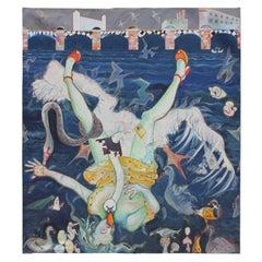 """""""Leda and the Swan by Wandsworth Bridge"""" Large Greek Mythology Themed Surrealist"""