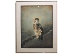 """Falcon on Branch"" Grey Tonal Painting of a Falcon Perched on a Branch"