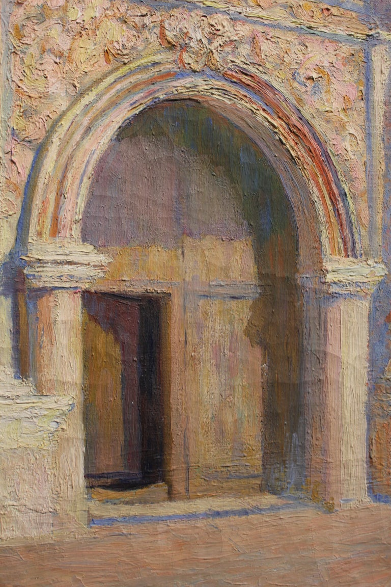 Italian or South American style Architectural painting of a chapel entrance. The painting is in brown, blue, and pink tones. It has details of sculptures and carved formations on the chapel. It is signed by the artist in the bottom right corner. The