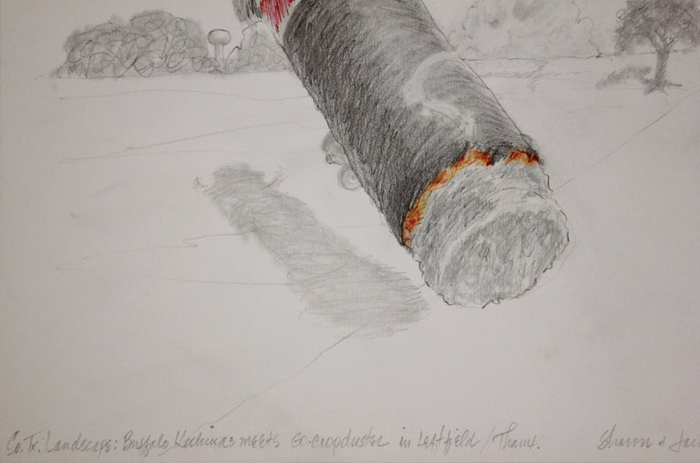 South, Texas Landscape Surrealist Drawing of a Cigar and a Crop Duster - Gray Abstract Drawing by Jack Boynton