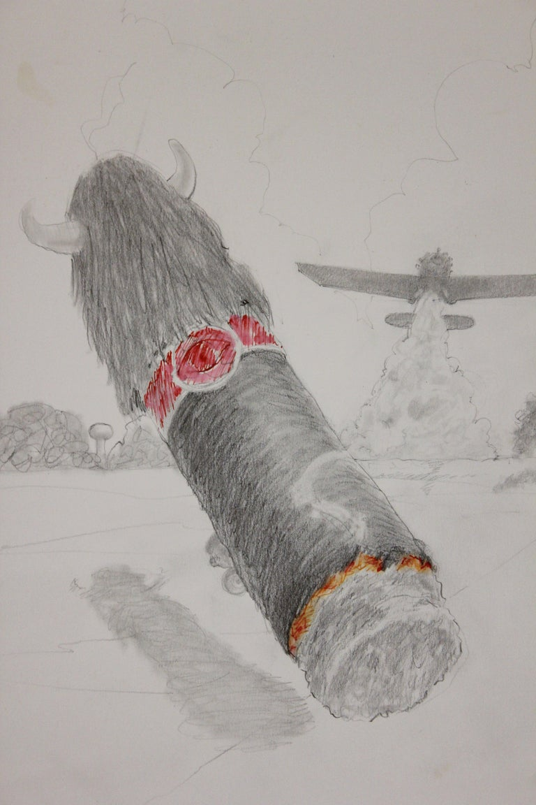 South, Texas Landscape Surrealist Drawing of a Cigar and a Crop Duster - Art by Jack Boynton