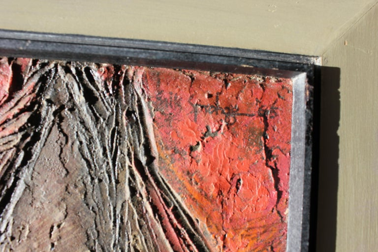 Deep Tonal Abstract Expressionist Textured Painting For Sale 3