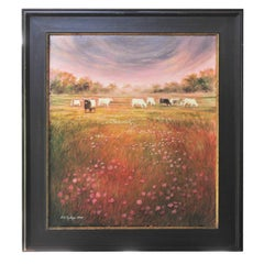"""Buttercups N Cattle"" Naturalistic Landscape Painting"