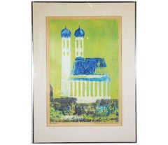 """Munch"" Green and Blue Tonal Architecture Landscape"