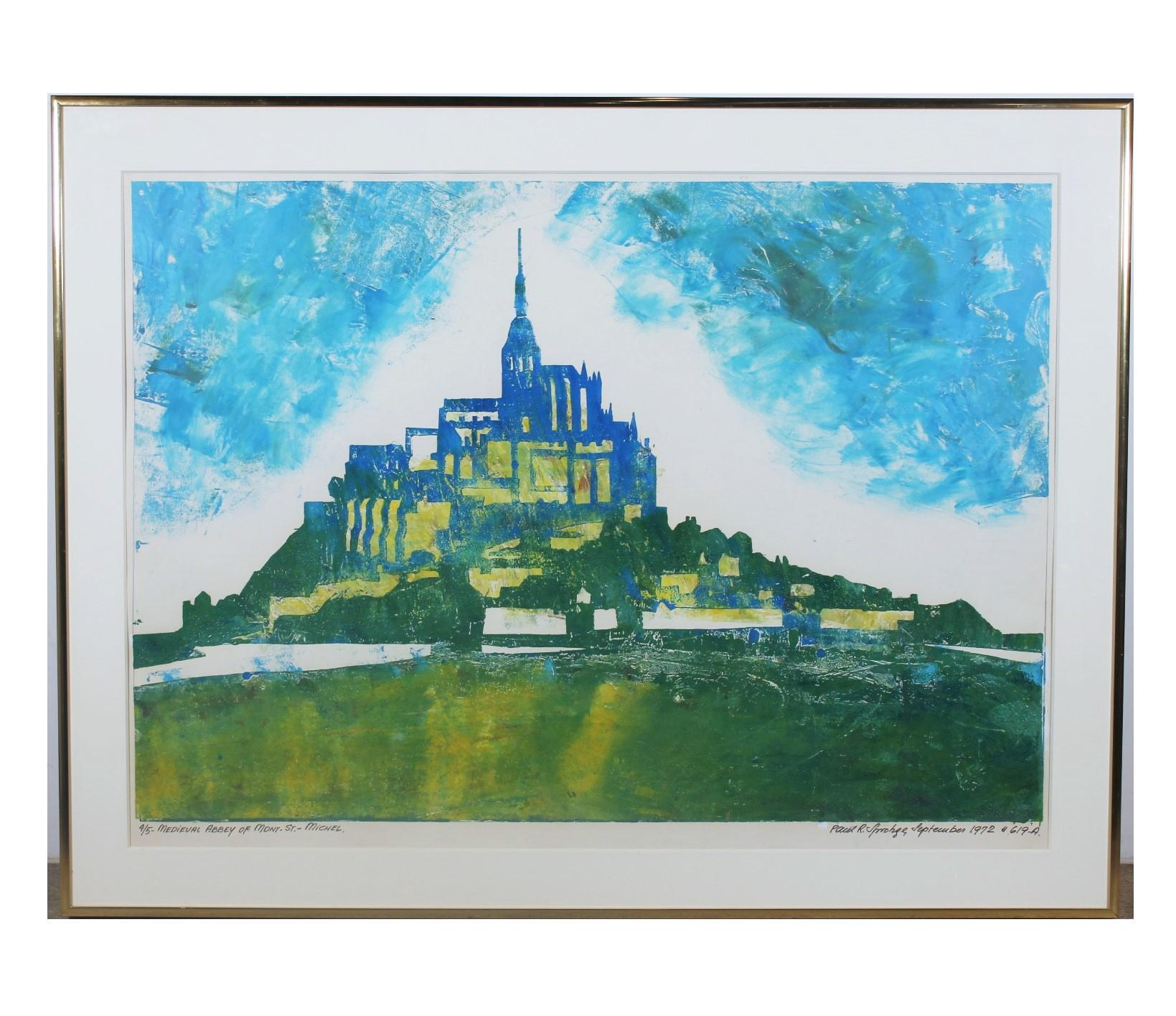 """""""Medieval Abby of Mont- St. Michel"""" Architectural Landscape Edition 4 of 5"""