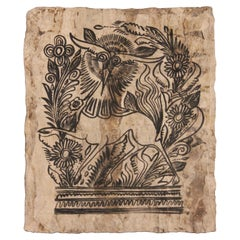 Mythical Creature with Foliage Painted on Handmade Paper