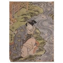 Bijin-ga Woman Kneeling by River Japanese Print